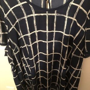 NWOT blue and white blouse